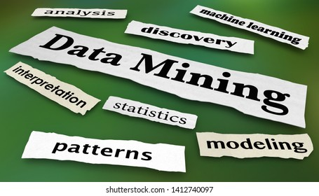 Data Mining Tools Modeling Statistics Newspaper Headlines 3d Illustration