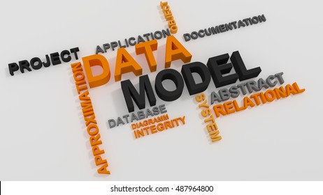 Data Model word cloud over white background