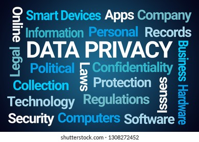 Data Privacy Word Cloud on Blue Background