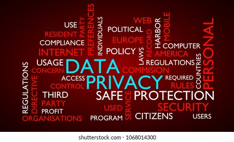 Data privacy word tag cloud. 3D rendering, red variant.