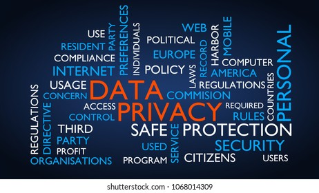 Data privacy word tag cloud. 3D rendering, blue variant.