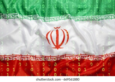 Data protection, binary code with Iran flag