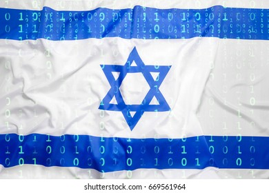 Data protection, binary code with Israel flag