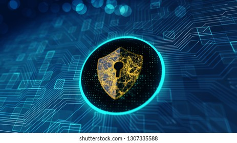 Data protection Cyber Security concept with Shield icon in cyber space.Cyber attack protection for worldwide connections,Block chain.