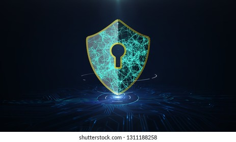 Data protection Cyber Security concept with shield icon on printed circuit board (PCB) design. Cyber attack protection for worldwide connections,Block chain. 3D illustration.