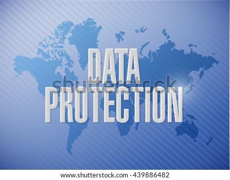 Data Protection World Map Sign Illustration Stockillustration ...