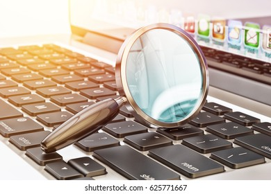 Data search technology concept, magnifying glass on laptop computer keyboard close-up view, 3d illustration
