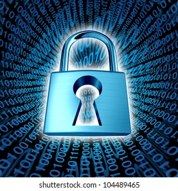 Data security and computer server network safety with a protection symbol of a lock with a keyhole on a binary code background as an icon of encryption and internet privacy technology in cyberspace.