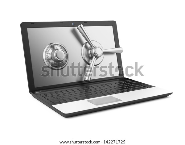 Data security concept. Laptop and combination Lock. 3D image isolated on white