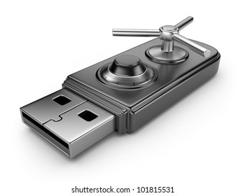 Data security concept. USB flash drive with lock. 3D isolated on white