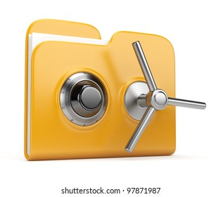 Data security concept. Yellow folder and lock. 3D isolated on white