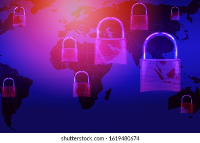 Data security systems computer with locked padlock on world map for protect crime by an anonymous hacker internet and data network / technology background cyber security concept
