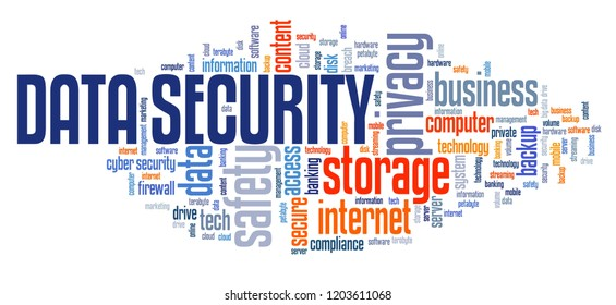 Data security text sign - information privacy and safe storage technology concept. Word cloud.