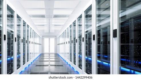 Data server rack center. Backup cloud service. 3D rendering