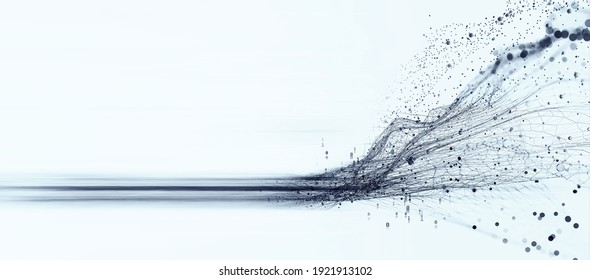Data stream. Big data 3D illustration. Neural network and cloud technologies. Global database and artificial intelligence. Bright, black and white background with bokeh effect