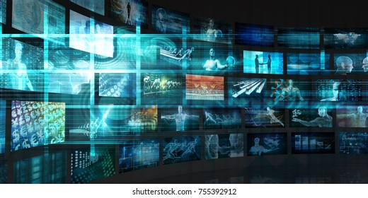 Data Stream of Internet Digital Information Moving 3D Render