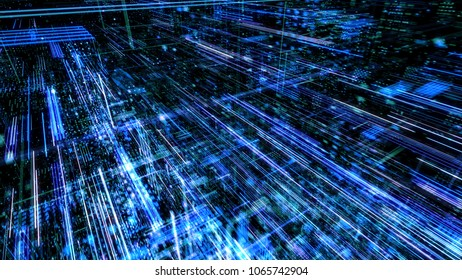 Data transfer and future technology, cyber security concept background, abstract hi speed digital internet. Motion blur. Abstract technology and cyber space environment 3D render