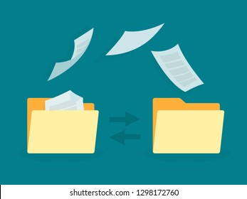 Data transfer illustration. Folders with documents flying.