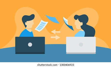 Data transfer illustration. Man and woman with laptops.