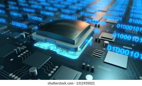 Data transfer integrated microchip 3D illustration