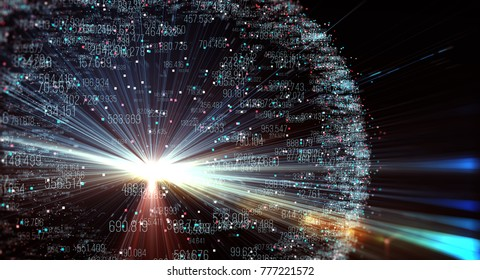 Data transmission channel. Motion of digital data flow. Transferring of big data. 3D Rendering/Transfer and storage of data sets