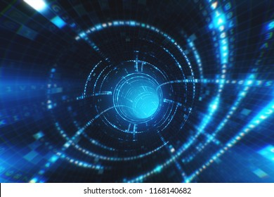 Data tunnel journey 3d illustration Shot inside fibre optic cable. Transmission of digital information as a binary signal