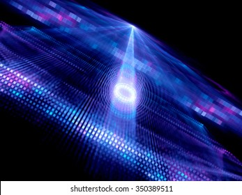 Data tunnel in quantum computing, computer generated abstract background