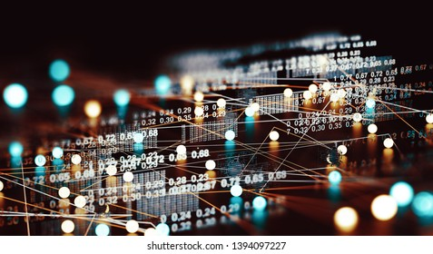 Data volume analysis and computer science industry.3d illustration.Data structure and information tools for networking business