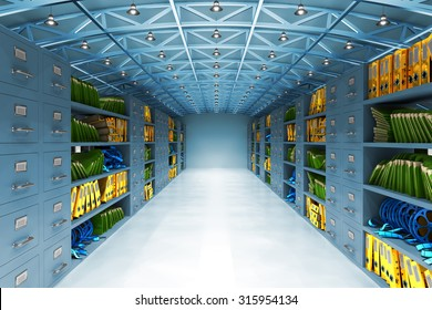 Data warehouse and information storage concept, archive office room interior with files and folders, film reels and cabinets with drawers in blue light