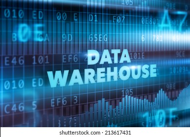 Data warehouse technology concept blue text