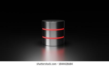 Database 3D render on dark background. Data storage concept. Disc cylinders with red backlight.