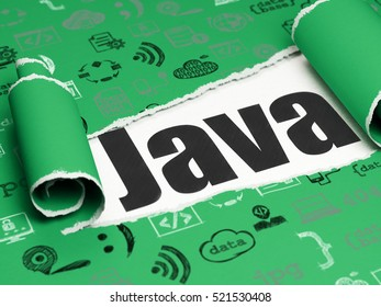 Database concept: black text Java under the curled piece of Green torn paper with  Hand Drawn Programming Icons, 3D rendering