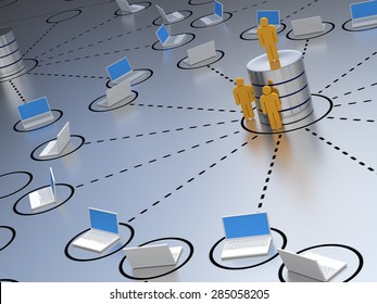 Database engineer, standing at an abstract designed database server environment