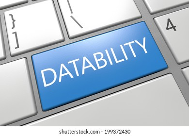 Datability - keyboard 3d render illustration with word on blue key