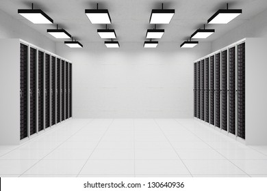 Datacenter with copyspace and hanging lamps and concrete wall