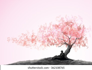Dating couple under a love tree, painting style.