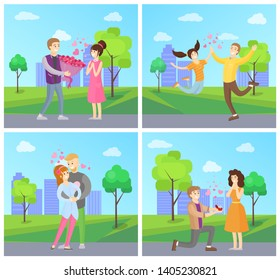 Dating couples posters set man presenting flower bouquet to woman making proposal with ring hugging and jumping city area landscape trees bushes