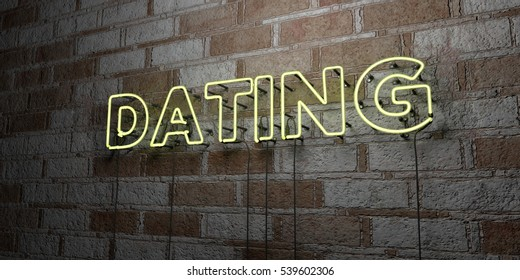 DATING - Glowing Neon Sign on stonework wall - 3D rendered royalty free stock illustration.  Can be used for online banner ads and direct mailers.