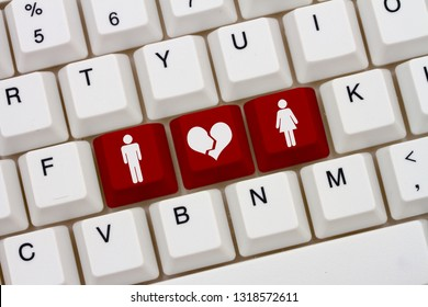 Dating on the internet gone wrong, A close-up of a keyboard with red highlighted text with woman and man symbol and broken heart 3D Illustration