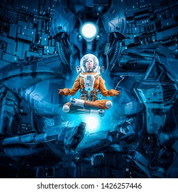 Daughter of the giant / 3D illustration of female astronaut in lotus pose levitating over hand of huge alien robot