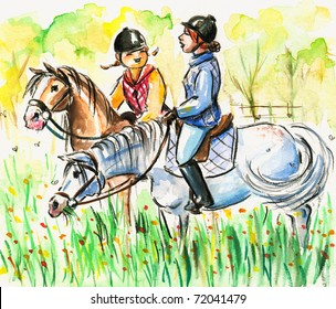 Daughter and mum riding horses together .Picture I have created with watercolors