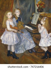 The Daughters of Catulle Mendes, by Auguste Renoir, 1888, French impressionist oil painting. Mendes was a well-known Symbolist poet, novelist, and publisher. Their mother was composer Augusta Holmes,