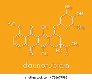 Daunorubicin (daunomycin) cancer chemotherapy drug molecule. Skeletal formula.
