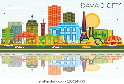 Davao City Philippines Skyline with Color Buildings, Blue Sky and Reflections. Business Travel and Tourism Illustration with Modern Architecture.