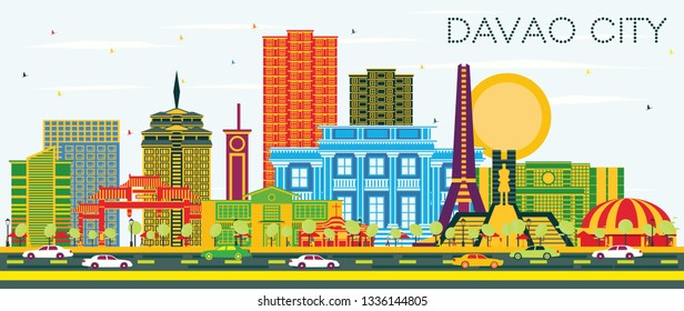 Davao City Philippines Skyline with Color Buildings and Blue Sky. Business Travel and Tourism Illustration with Modern Architecture.