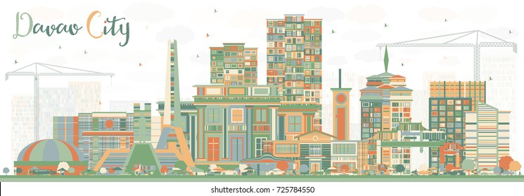 Davao City Philippines Skyline with Color Buildings. Business Travel and Tourism Illustration with Modern Architecture.