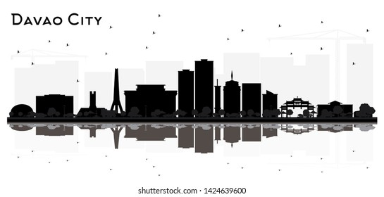 Davao City skyline silhouette with black buildings isolated on white. Simple flat concept for tourism presentation or web site. Business travel concept. Cityscape with landmarks.