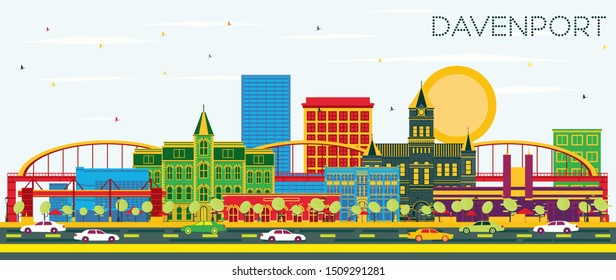 Davenport Iowa Skyline with Color Buildings and Blue Sky. Business Travel and Tourism Illustration with Historic Architecture.