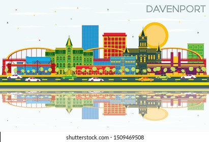 Davenport Iowa Skyline with Color Buildings, Blue Sky and Reflections. Business Travel and Tourism Illustration with Historic Architecture.