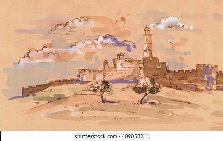 David's tower - old city of Jerusalem view. Israel. Vintage Landscape watercolor Illustration Jewish Holiday, david city, Independence, wedding, rosh hashana, sukkot, passover, shavuot, purim, kaballa